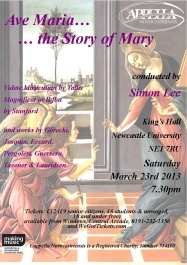 Publicity poster for concert, Ave Maria - the story of Mary, 23 March 2013