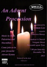 Publicity poster for concert, Advent procession, 7 December 2013