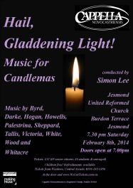 Publicity poster for concert, Hail Gladdening Light - music for Candlemas, 8 February 2014