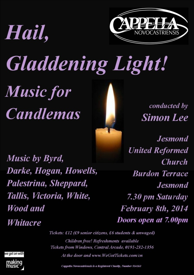 Image of concert publicity pster with candle centrally, G