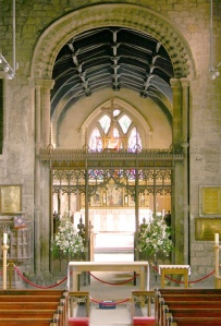 photo of St Andrew's Church, Newgate Street, Newcastle, central aisle looking towards altar and chancel beyond