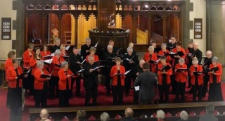 Photo of choir singing in Jesmond United Reformed Church, Newcastle