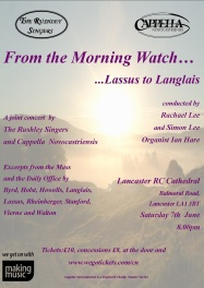 Publicity poster for concert, From The Morning Watch - Lassus to Langlais, 7 June 2014