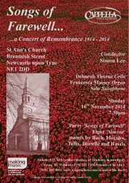 Publicity poster for concert, Songs of Farewell, Remembrance, 16 November 2014