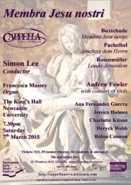 Publicity poster for Membra Jesu Nostri concert, 7 March 2015
