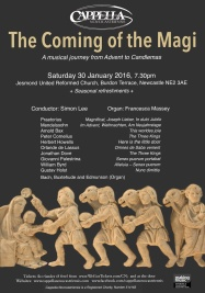 Publicity poster for concert 'The Coming of the Magi,' 30 January 2016