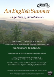 Publicity poster for concert 'An English Summer,' 11 June 2016