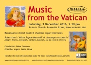Publicity poster for concert 'Music from the Vatican,' 3 December 2016
