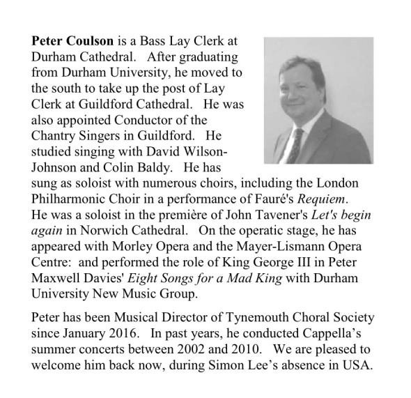 biography and photo of Peter  Coulson, choir director during absence of Simon Lee on sabatical study leave in US, 2016-18