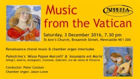 poster for 'Music from the  Vatican' concert 3 December 2016