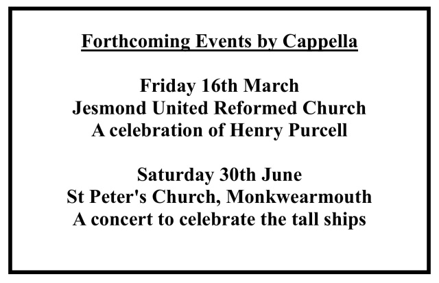 Publicity advert for concert 'A celebration of Henry Purcell' 16 March 2018