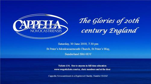 poster for Glories of 20th Century England concert 30 June 2018